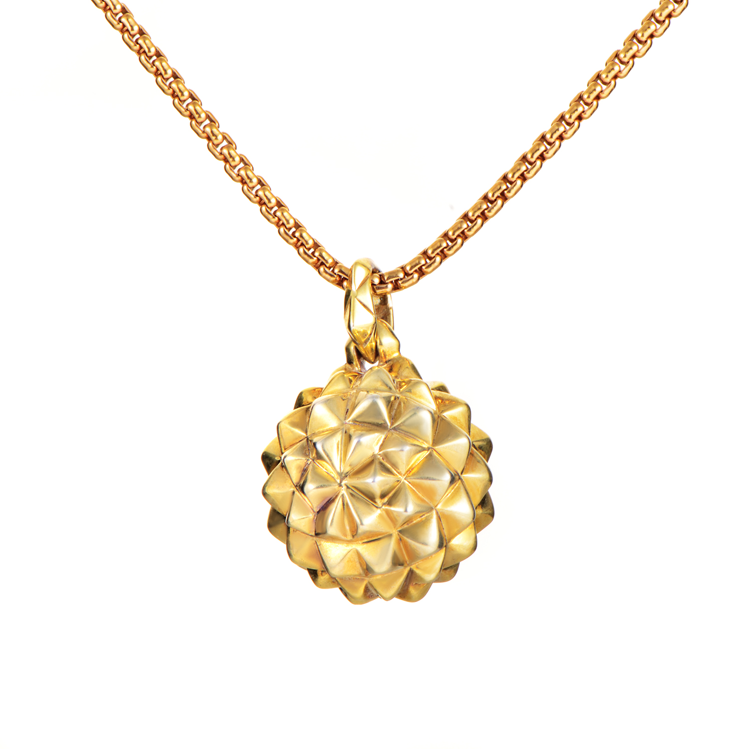 Superstud Gold Plated Sterling Silver Mace Pendant Necklace