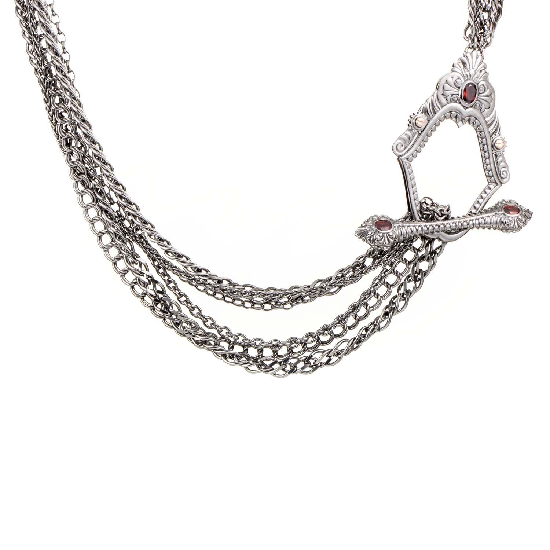 Jewels Verne Sterling Silver & Garnet Toggle Necklace 3011984002