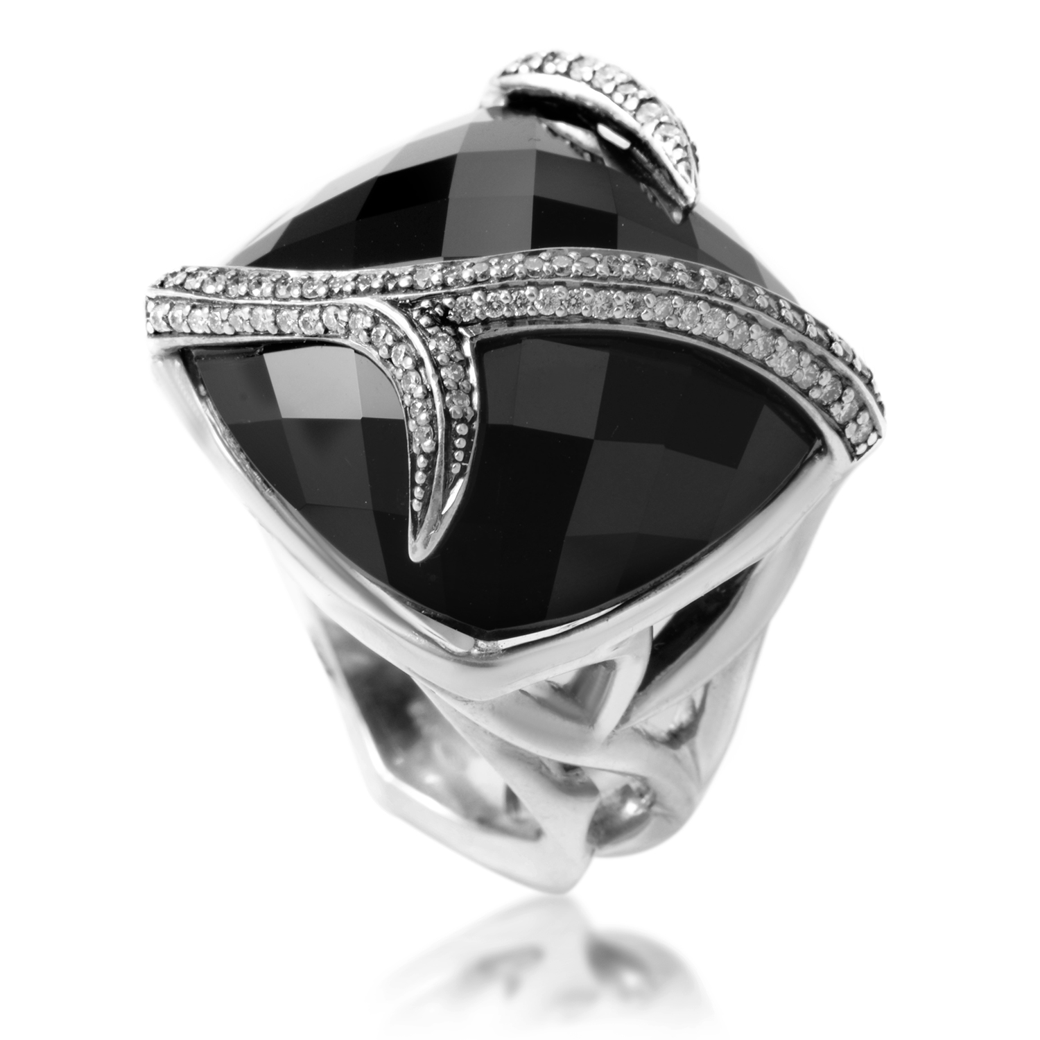Thorn Sterling Silver & Onyx CZ Ring
