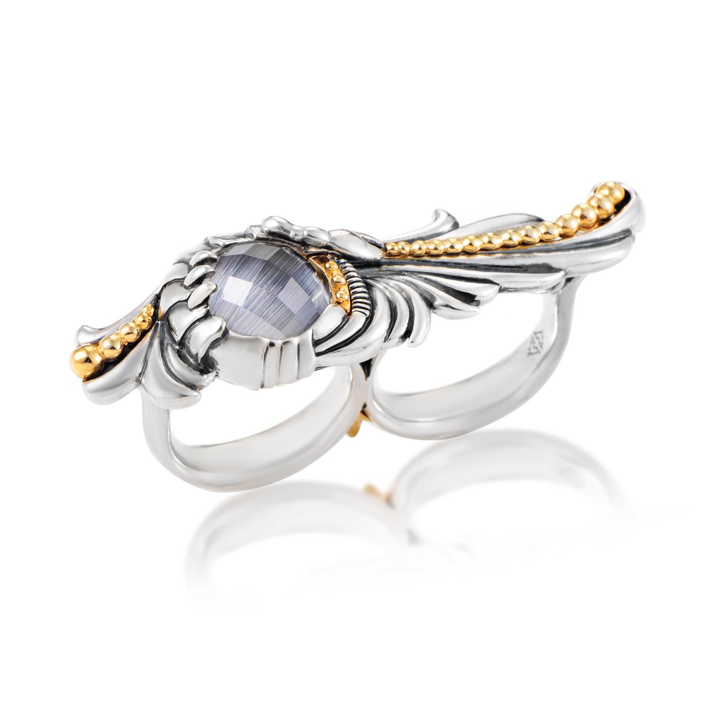 Jewels Verne Sterling Silver Gemstone Two-Finger Ring