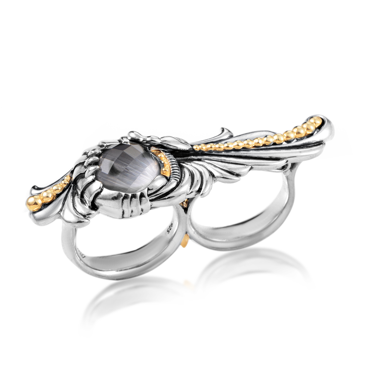 Jewels Verne Silver Cat's Eye & Quartz Double Finger Ring