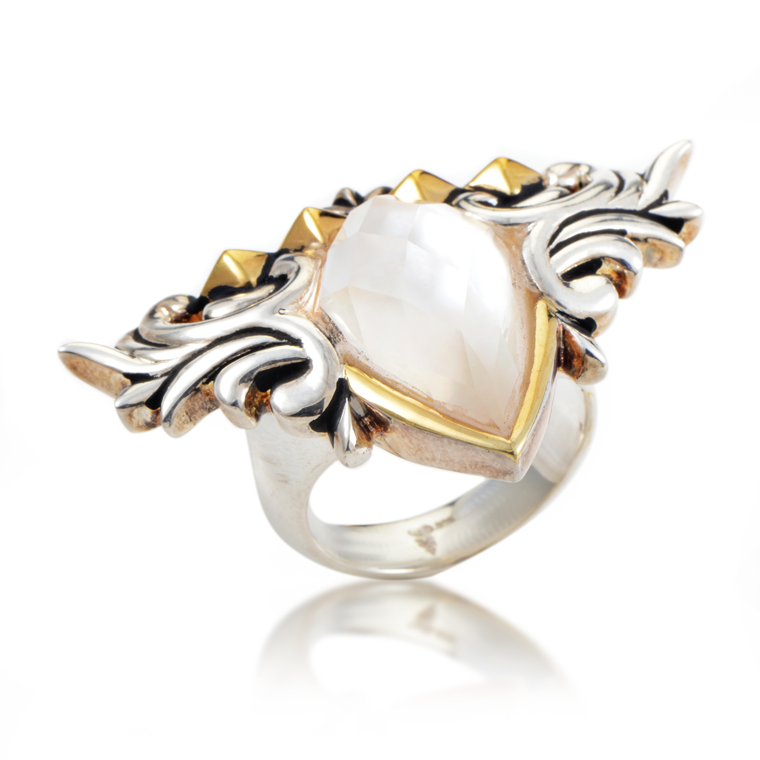Superstud Baroque Sterling Silver Mother of Pearl & Quartz Ring