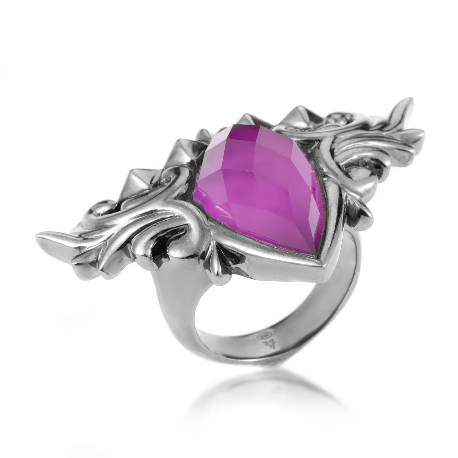 Superstud Sterling Silver and Sugilite & Quartz Ring