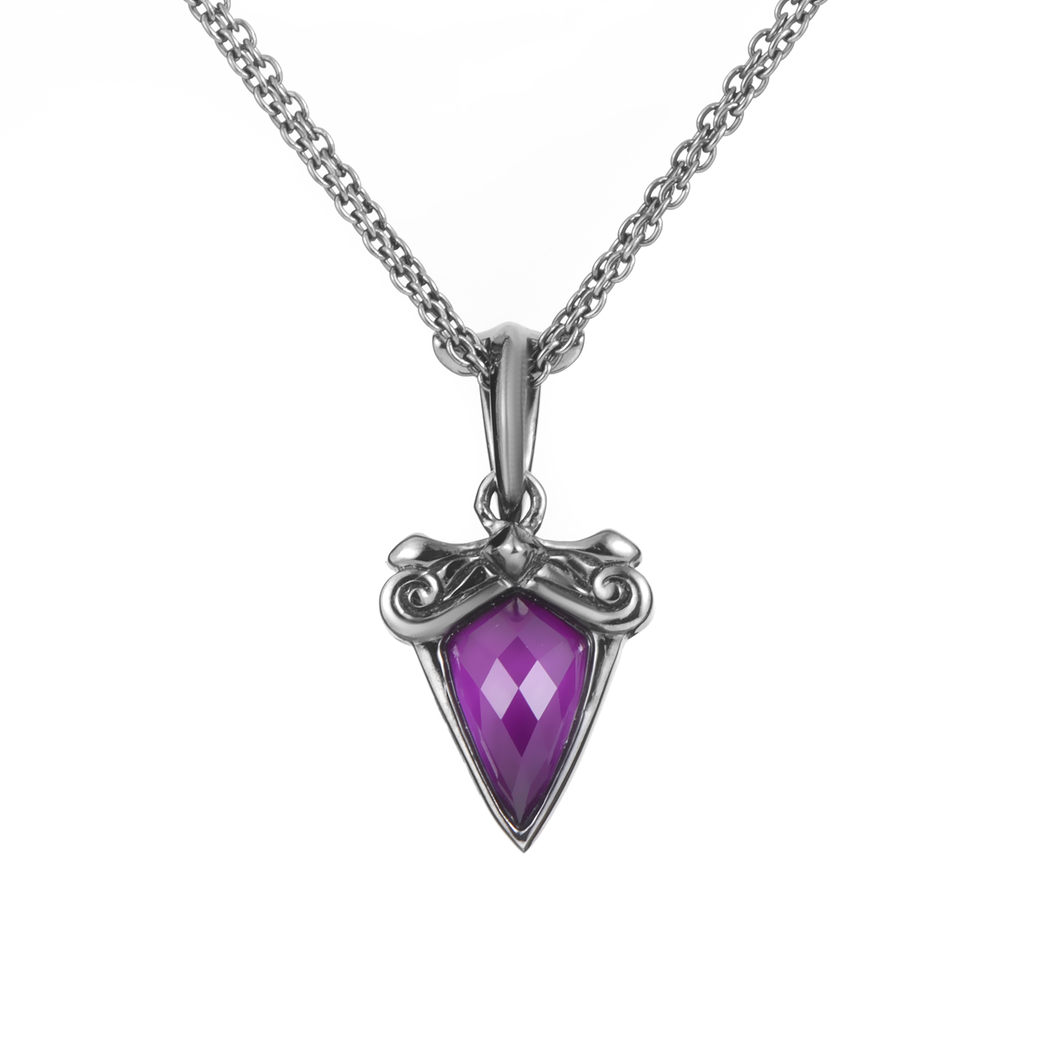 Superstud Women's Silver Sugilite & Quartz Pendant Necklace
