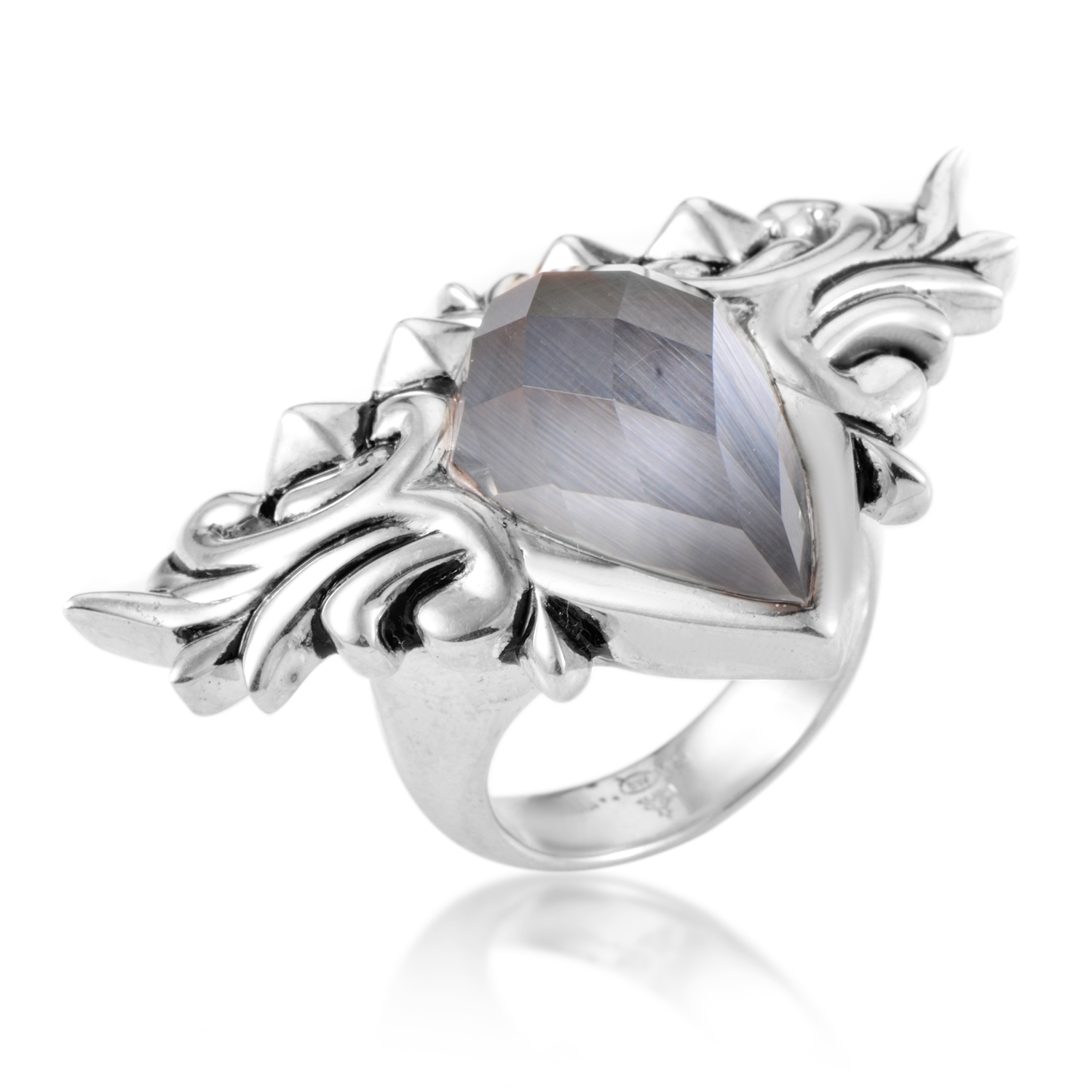 Superstud Baroque Sterling Silver Cat's Eye & Quartz Ring