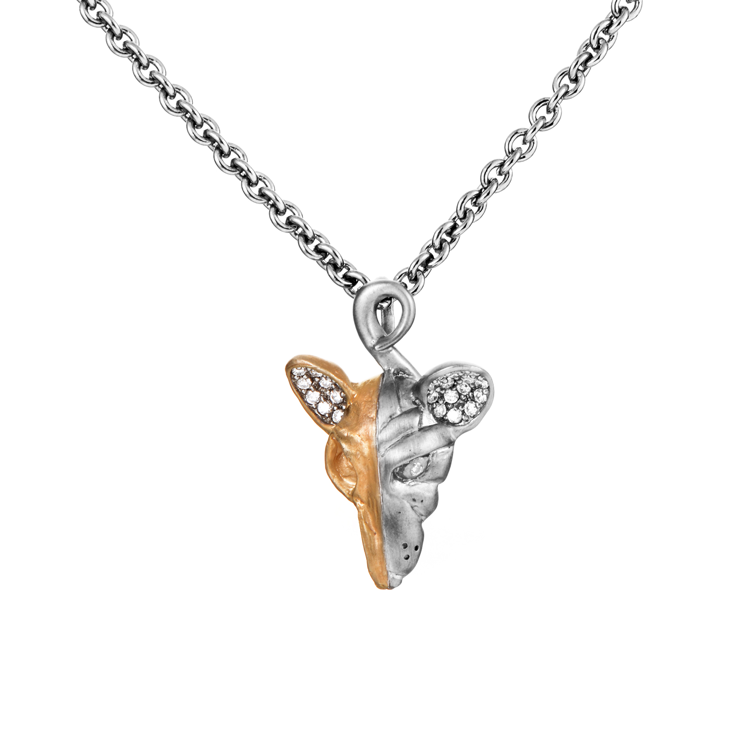 Gold Plated Silver & CZ Rat Pendant Necklace