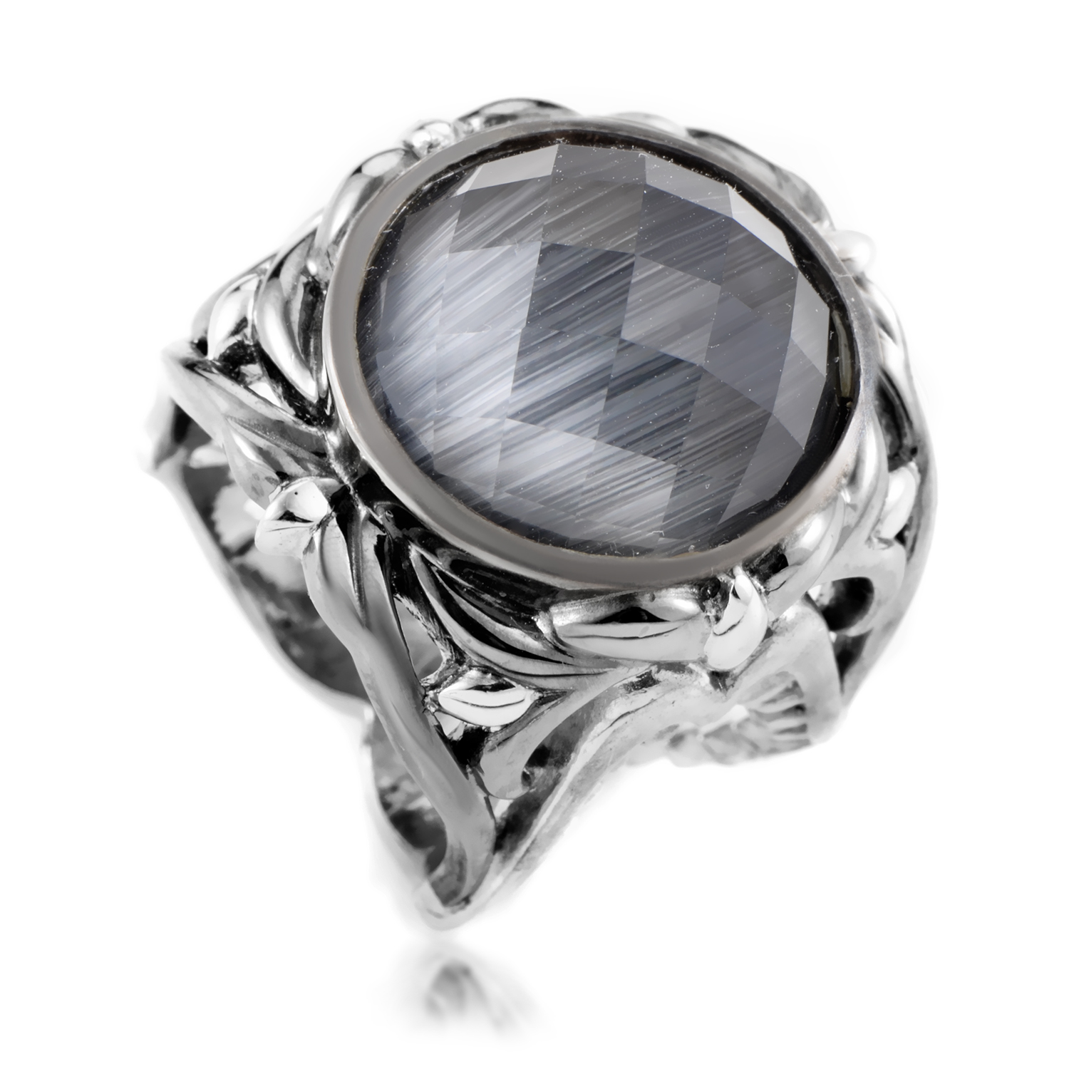 Les Dents de la Mer Sterling Silver Cat's Eye & Quartz Ring