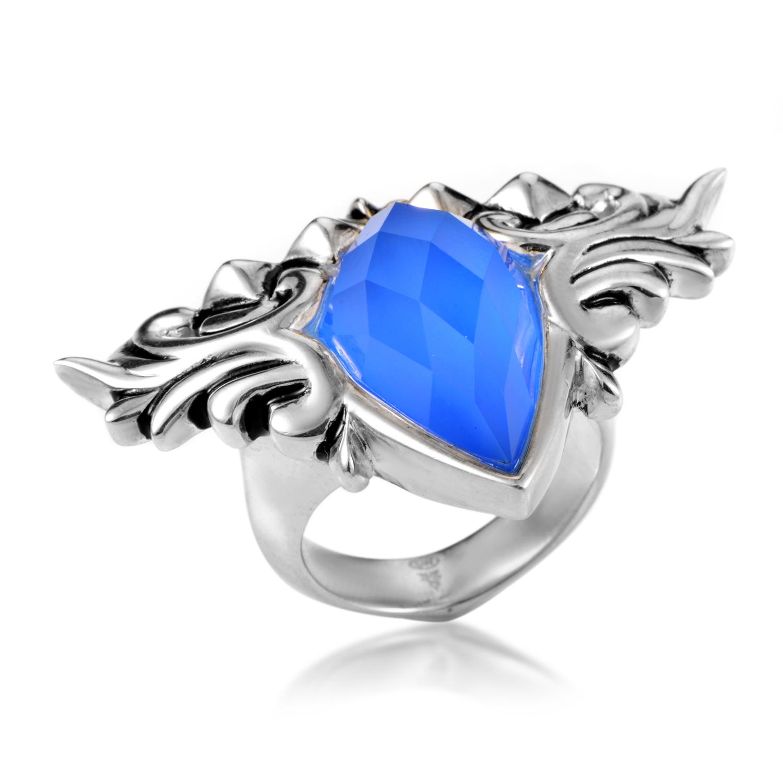 Baroque Superstud Sterling Silver Agate & Quartz Ring