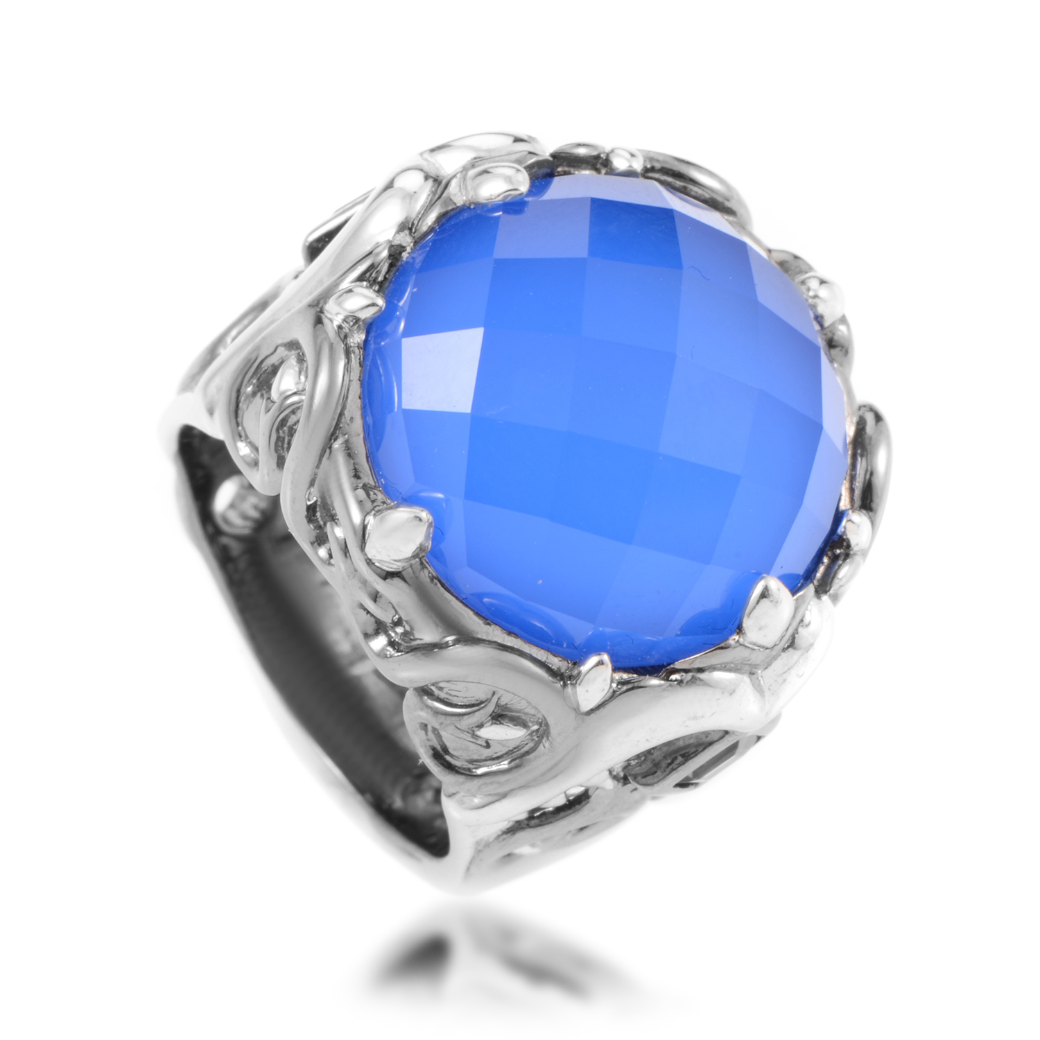 Les Dents de la Mer Sterling Silver Blue Gemstone Cocktail Ring