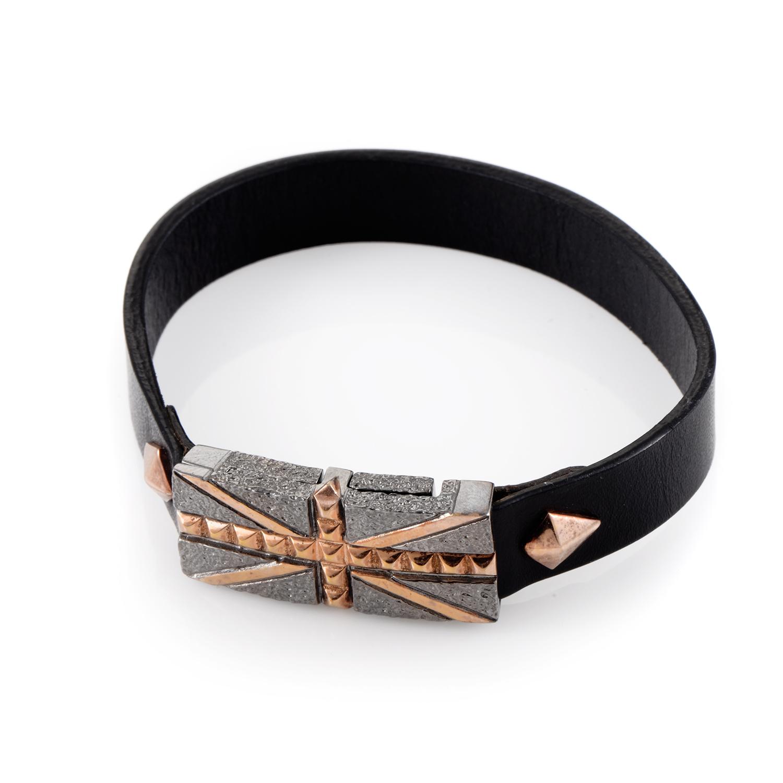 Leather Rose Gold-Plated Sterling Silver Union Jack Bracelet