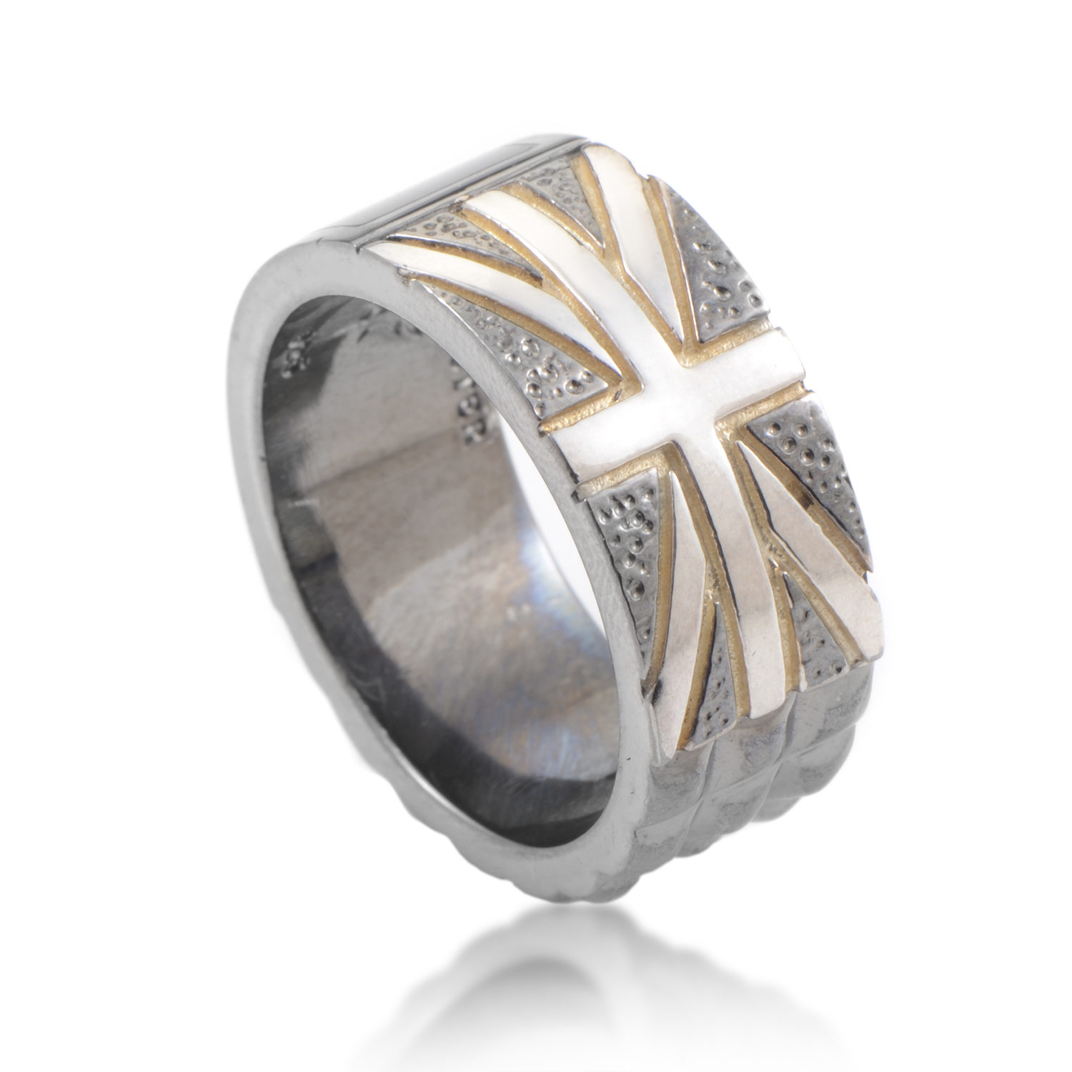 Alchemy in the UK Sterling Silver Onyx Union Jack Ring