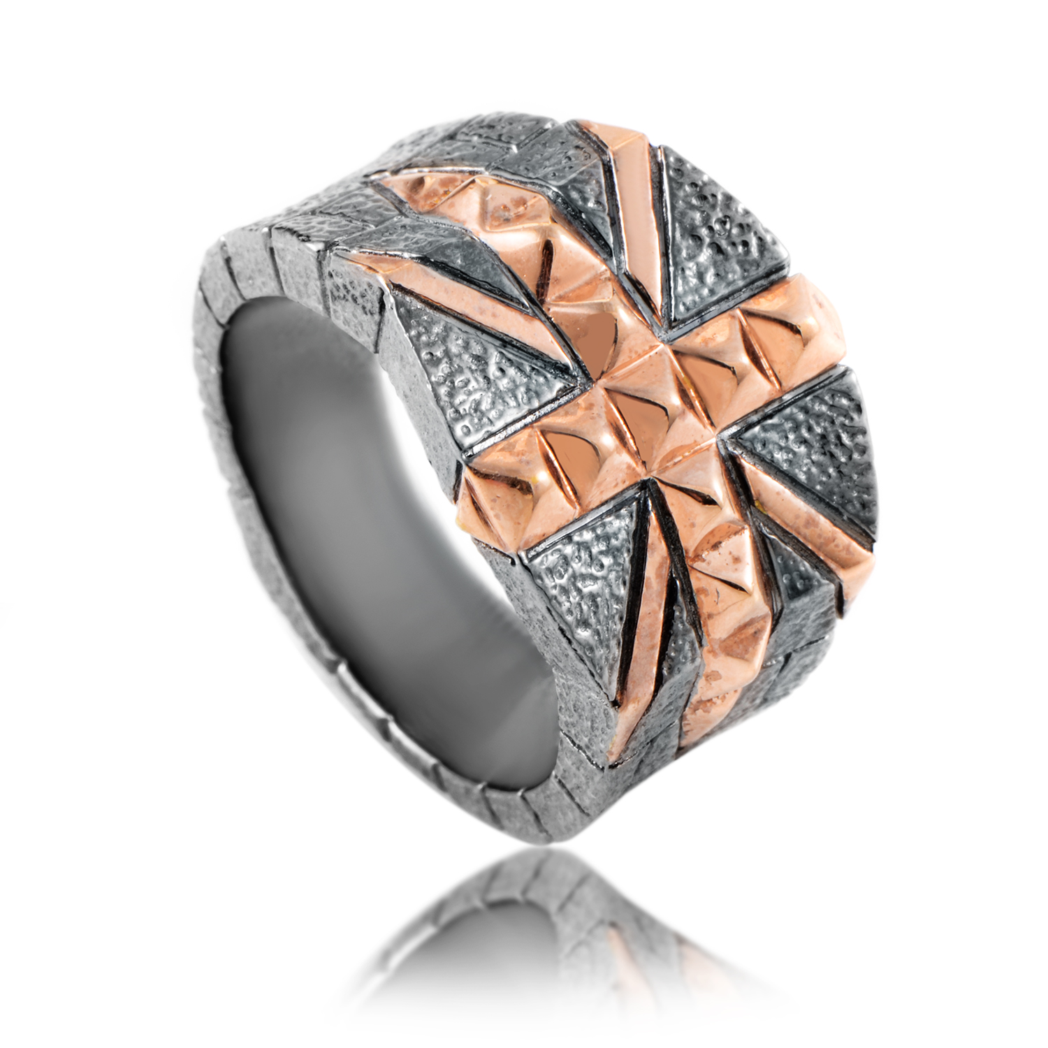 Alchemy in the UK Silver Gold-Plated Union Jack Ring 3013705002
