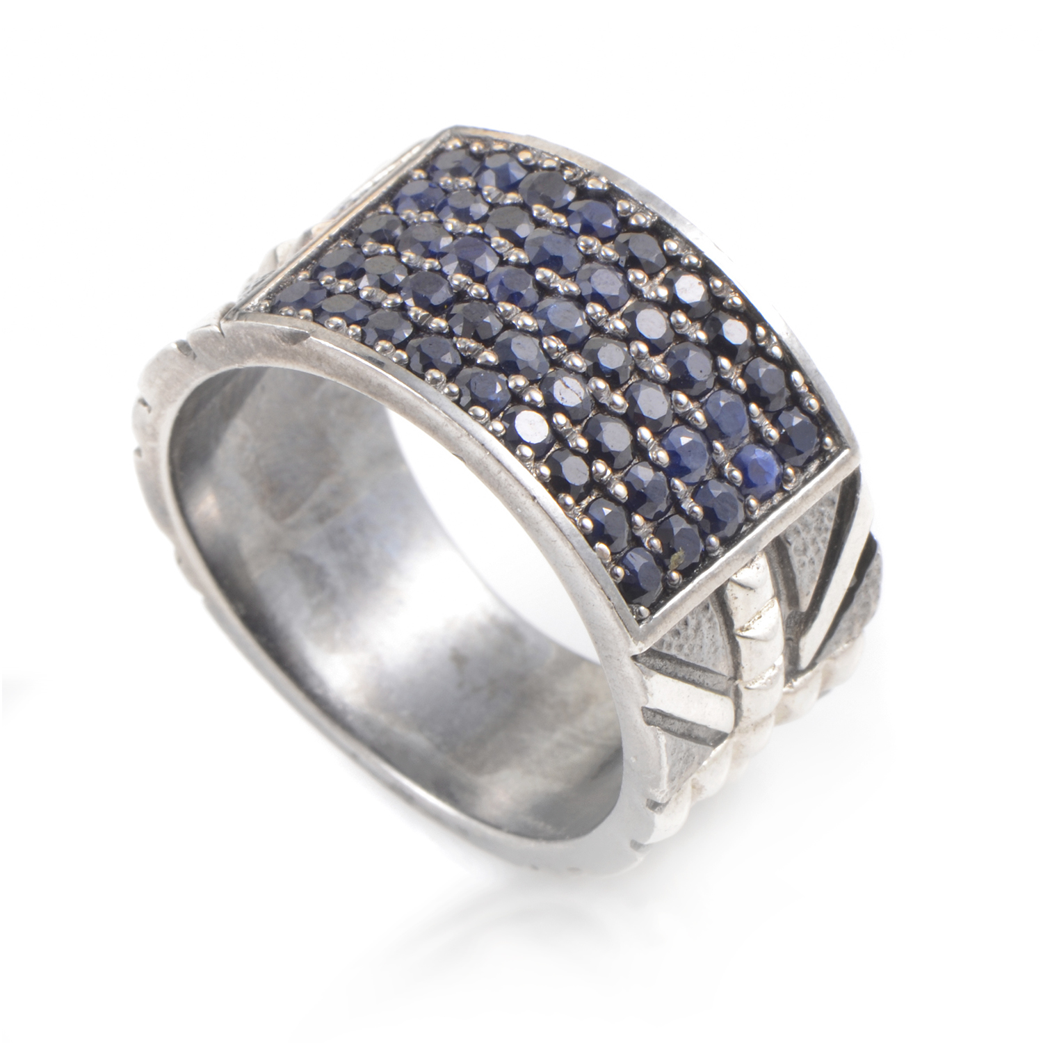 Alchemy in the UK Sterling Silver & Sapphire Pave Ring