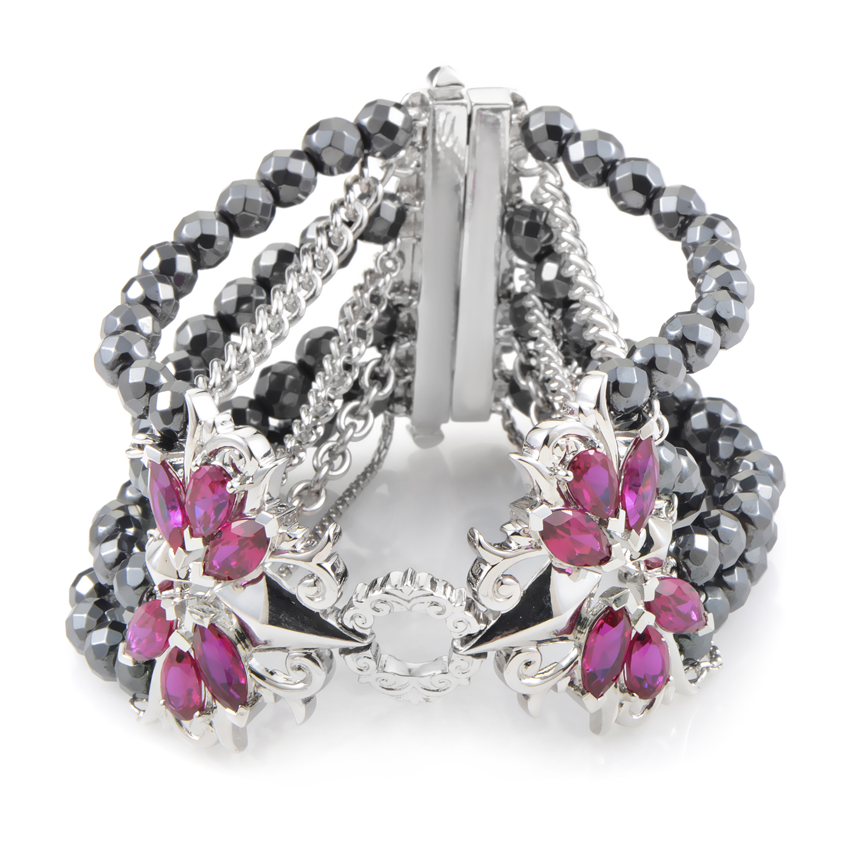 Pop Superstud Sterling Silver Quartz & Hematite Bracelet 3014031