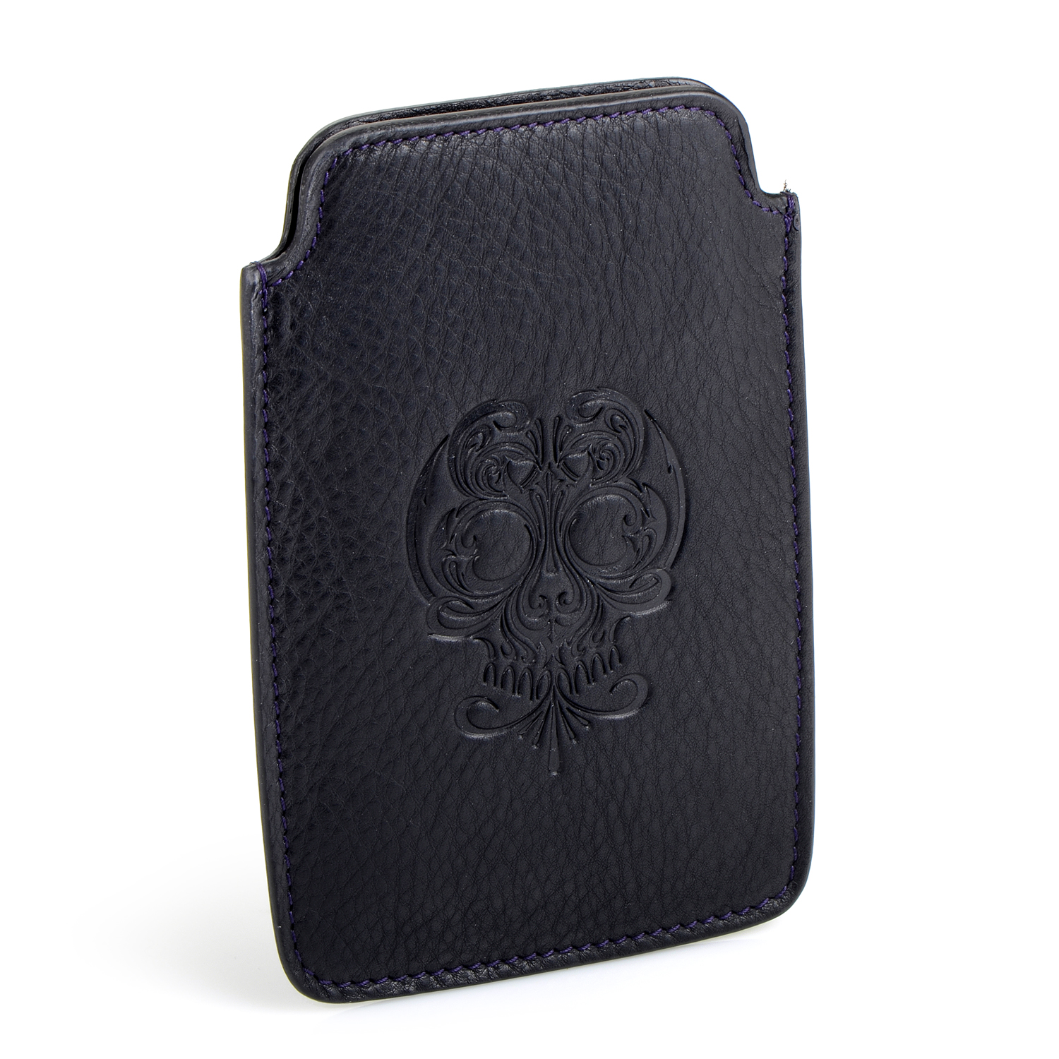 Black Calfskin Leather iPhone Case
