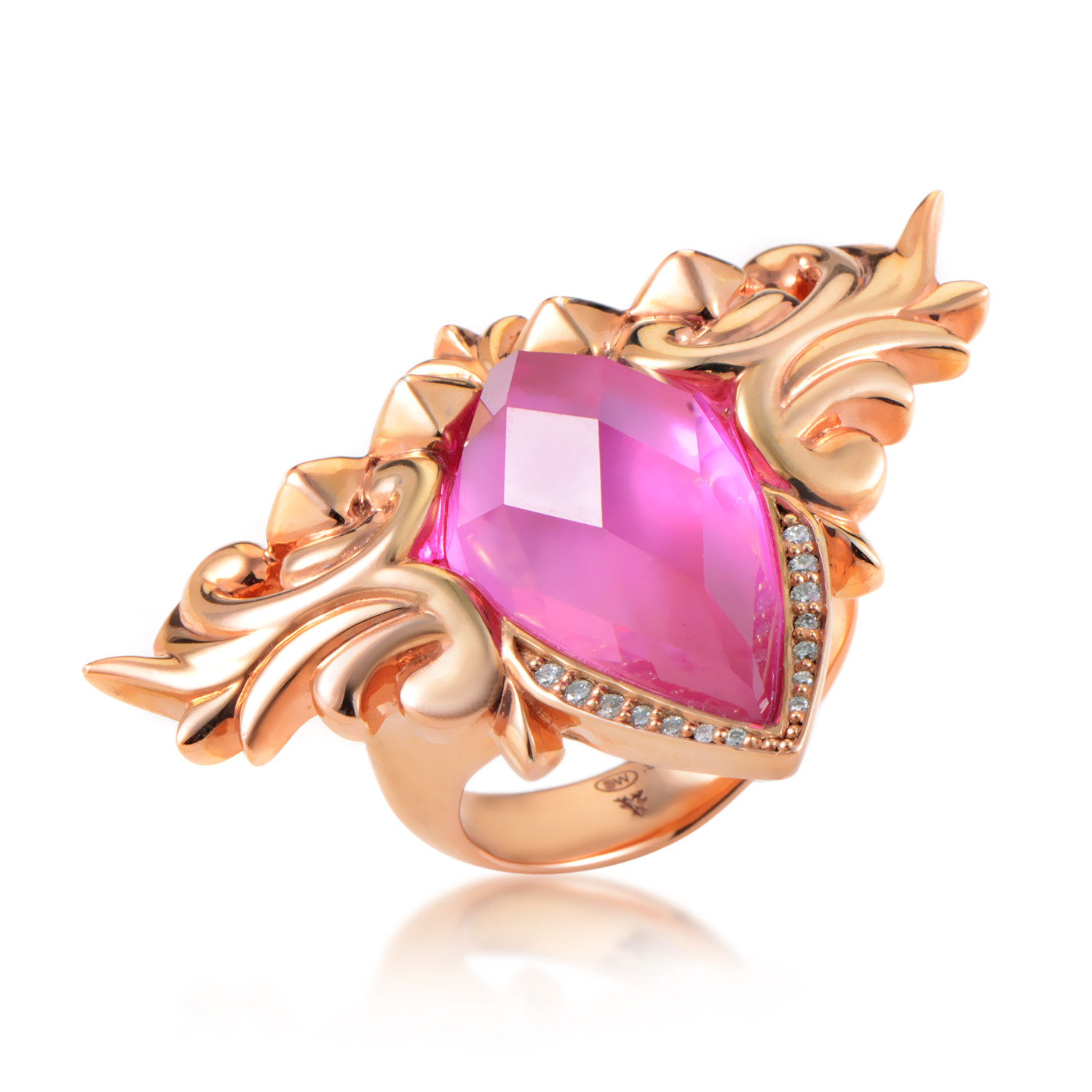 Baroque Superstud Rose Gold Plated Sterling Silver Gemstone Ring