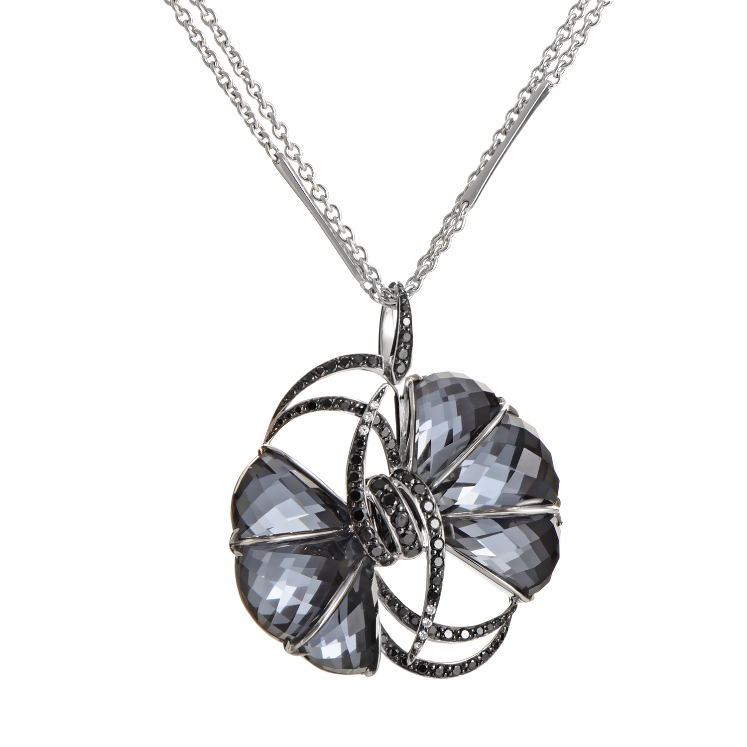 Forget Me Knot 18K White Gold Gemstone Bow Pendant Necklace