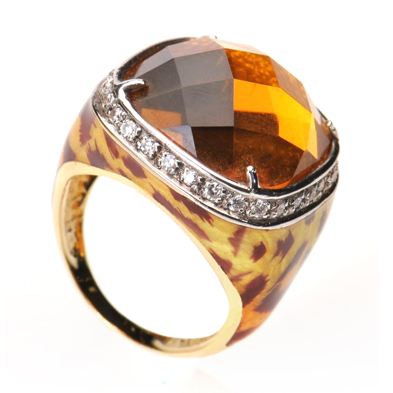 18K Yellow Gold Diamond & Yellow Citrine Square Enamel Ring