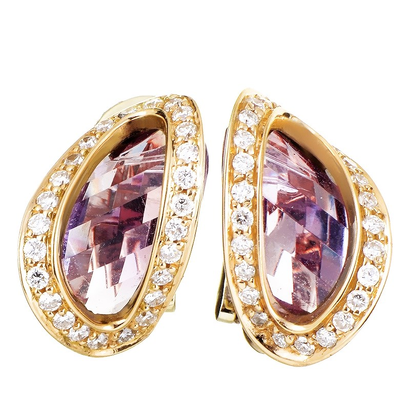 18K Yellow Gold Diamond & Amethyst Huggie Earrings ER8-062058YGAM
