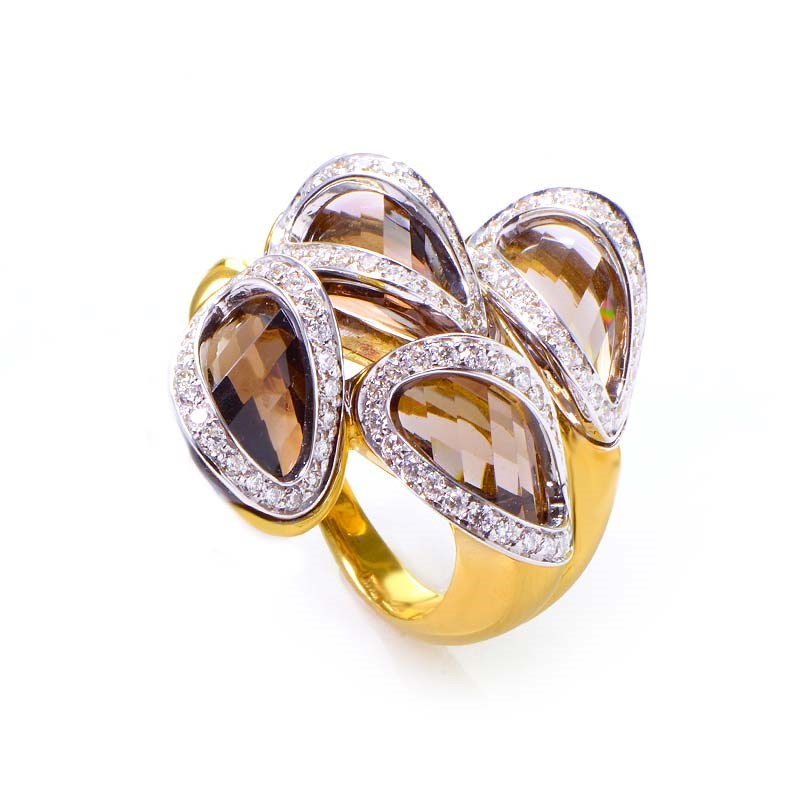 18K Yellow Gold Smokey Topaz & Diamond Ring