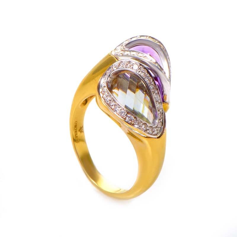 18K Yellow Gold Multi Amethyst & Diamond Ring