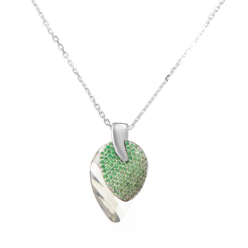 18K White Gold Green Gem Pendant Necklace