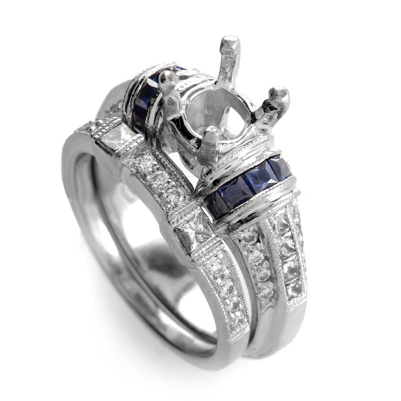 Tacori Platinum Diamond & Sapphire Mounting Ring Set RR0079992AA
