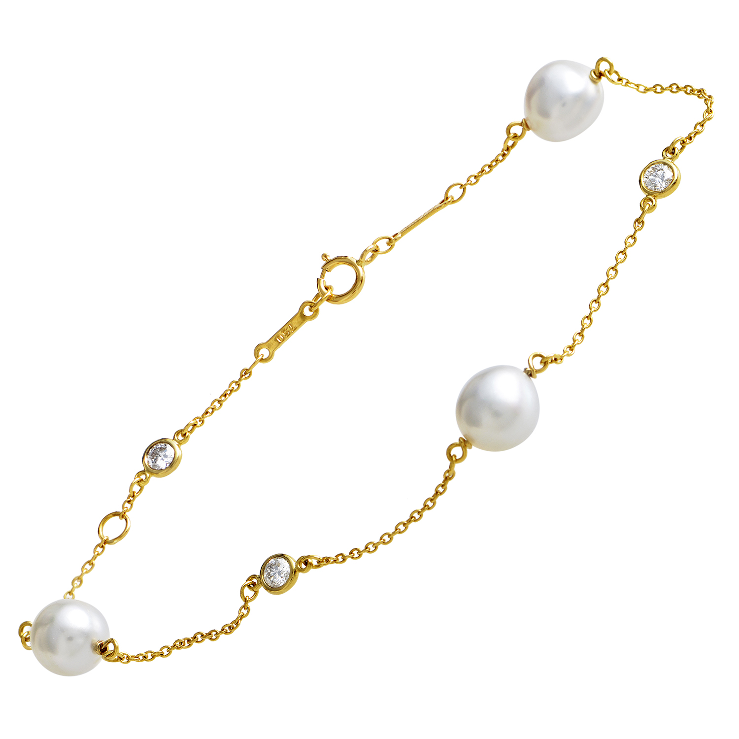 Tiffany & Co. Elsa Peretti Diamonds by the Yard 18K Gold Diamond & Pearl Bracelet
