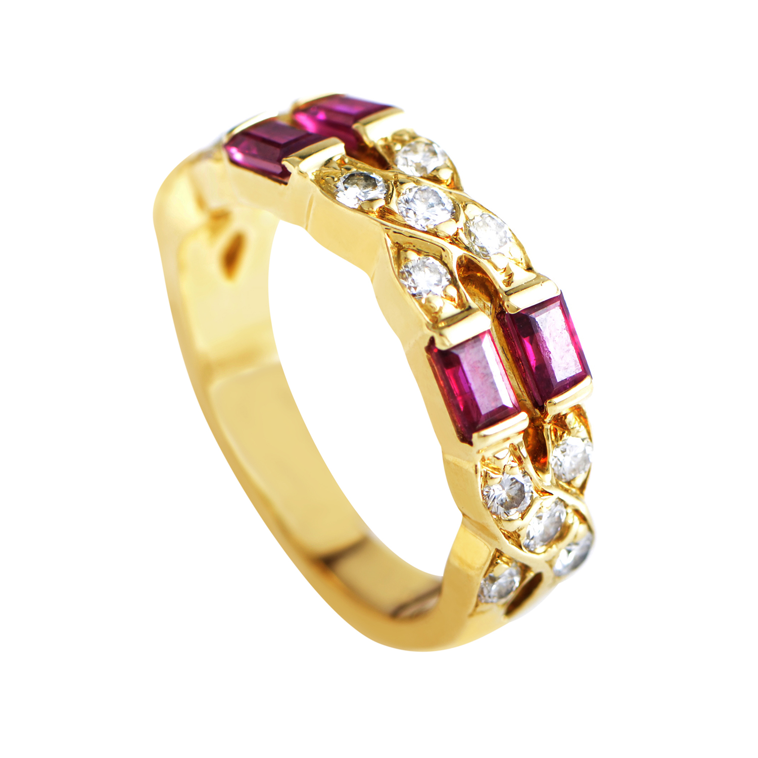 tiffany co women 39 s 18k yellow gold diamond ruby band. Black Bedroom Furniture Sets. Home Design Ideas
