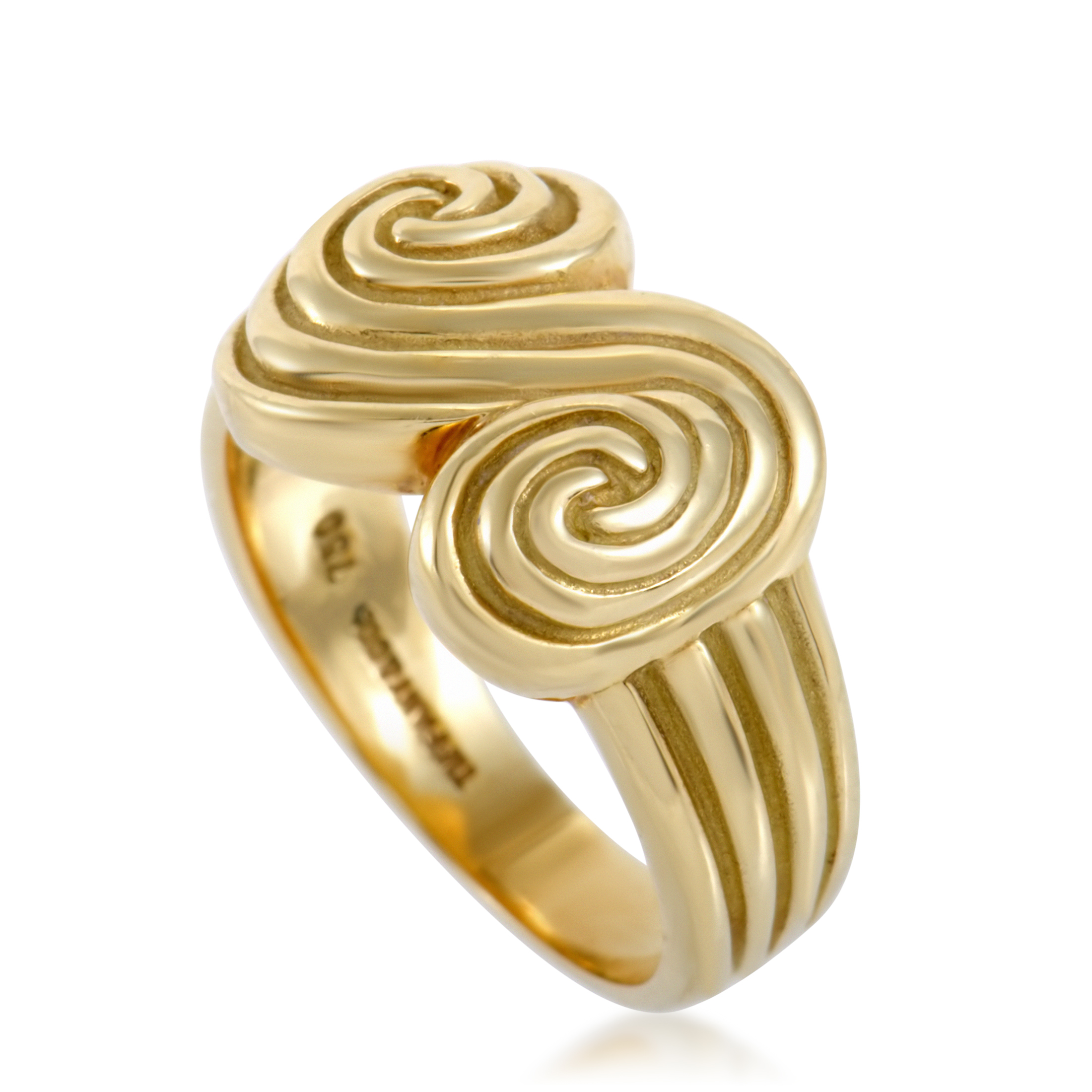 Tiffany Womens Spiro 18K Yellow Gold 2-Swirl Ring