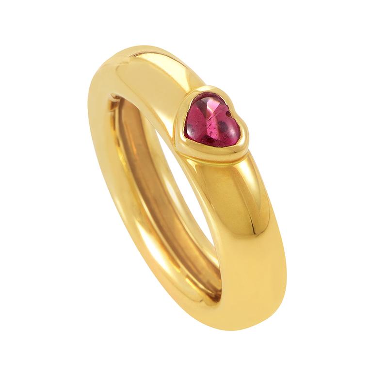 Tiffany & Co. Women's 18K Yellow Gold Tourmaline Heart Band Ring