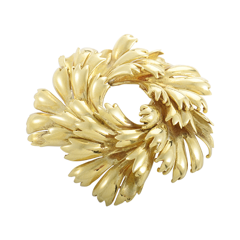 Tiffany & Co. 18K Yellow Gold Wreath Brooch
