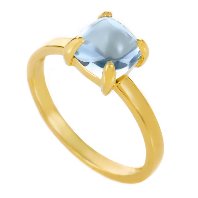 250065802 ... tiffany co. paloma picasso sugar stack 18k yellow gold aquamarine ring  ...