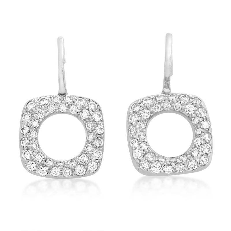 Tiffany & Co. 18K White Gold Diamond Pave Dangle Earrings TIF01-042415