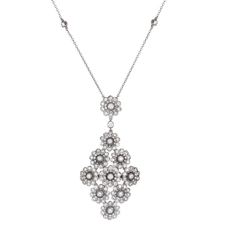 Tiffany & Co. Platinum Rose Diamond Flower Cluster Pendant Necklace