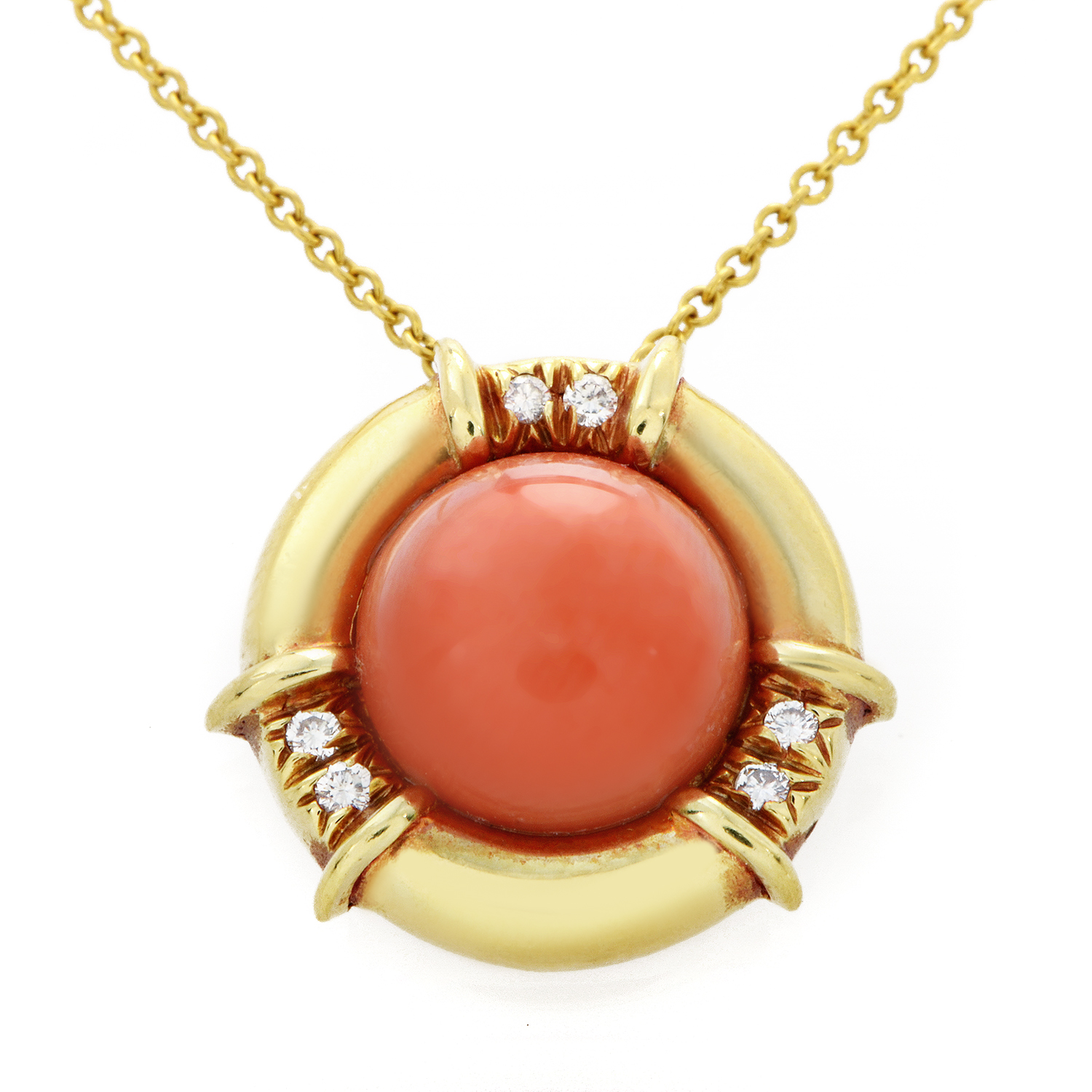 Tiffany & Co. 18K Yellow Gold Coral & Diamond Pendant Necklace