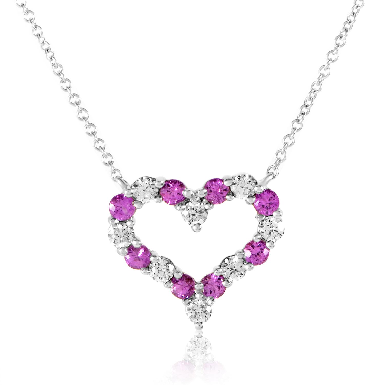 Tiffany & Co. Women's Platinum Diamond & Sapphire Heart Pendant Necklace