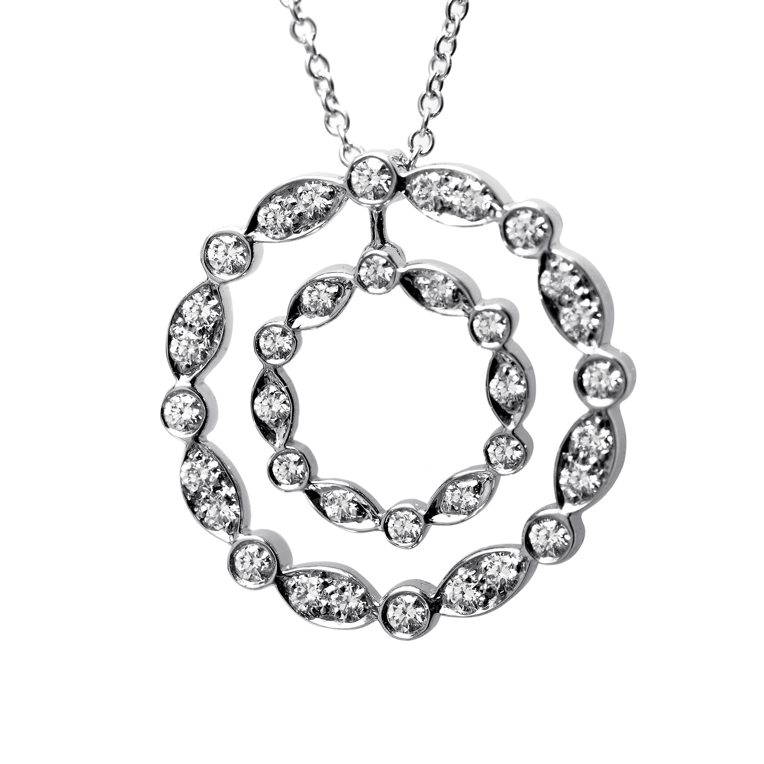 Tiffany & Co. Women's Platinum & Diamond Double Circle Pendant Necklace