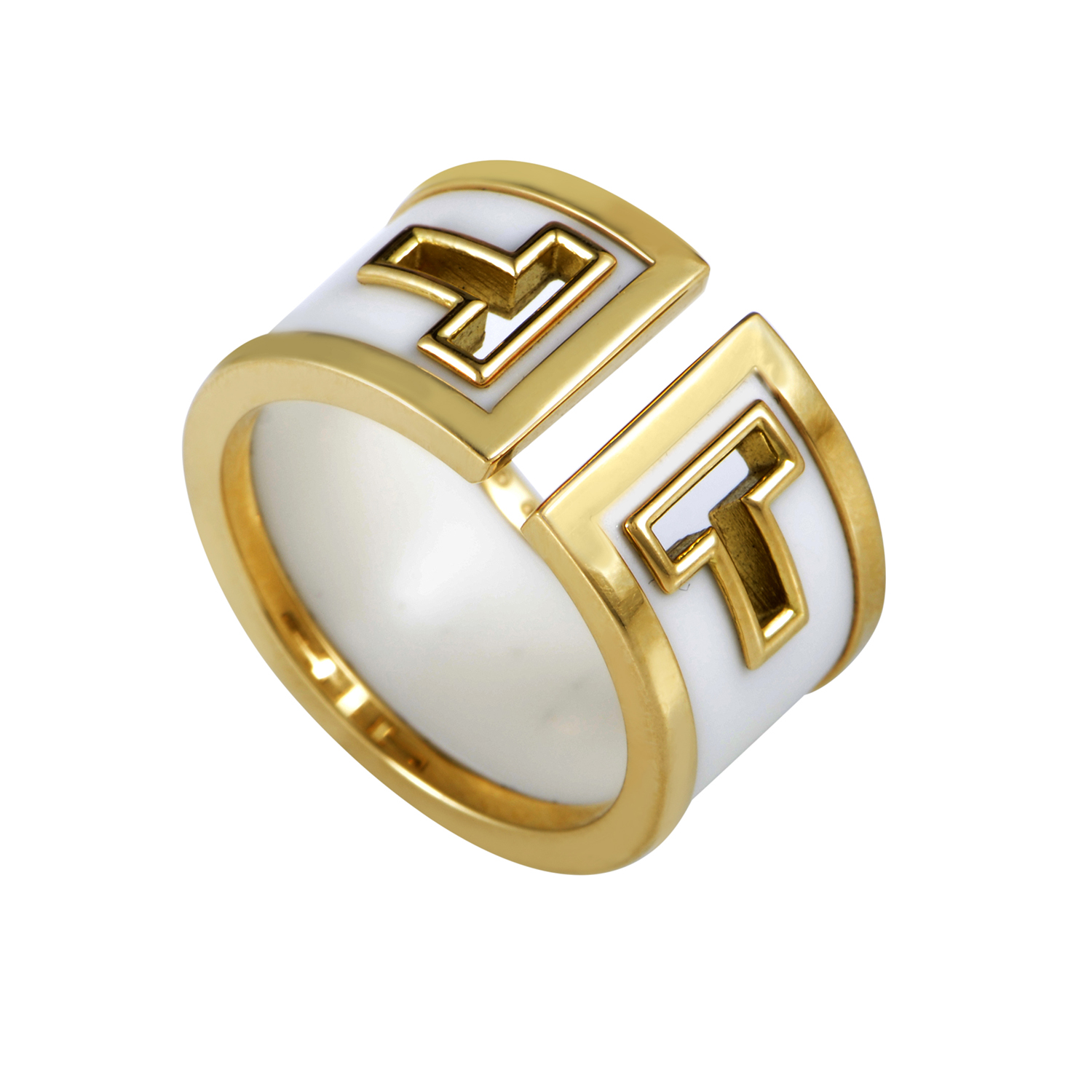 Tiffany & Co. 18K Yellow Gold White Onyx Band Ring