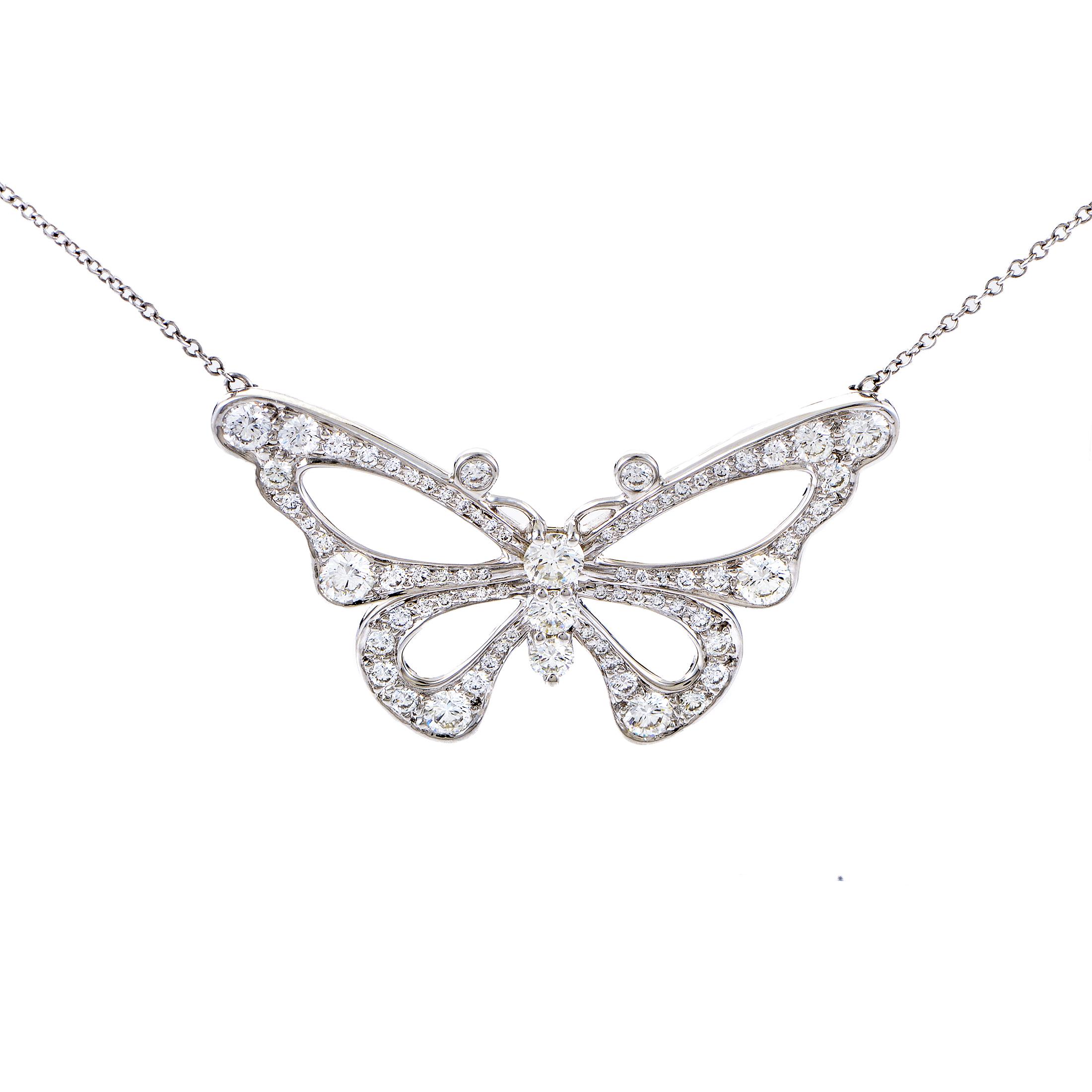 Tiffany & Co. Enchant Women's Platinum & Diamond Butterfly Pendant Necklace