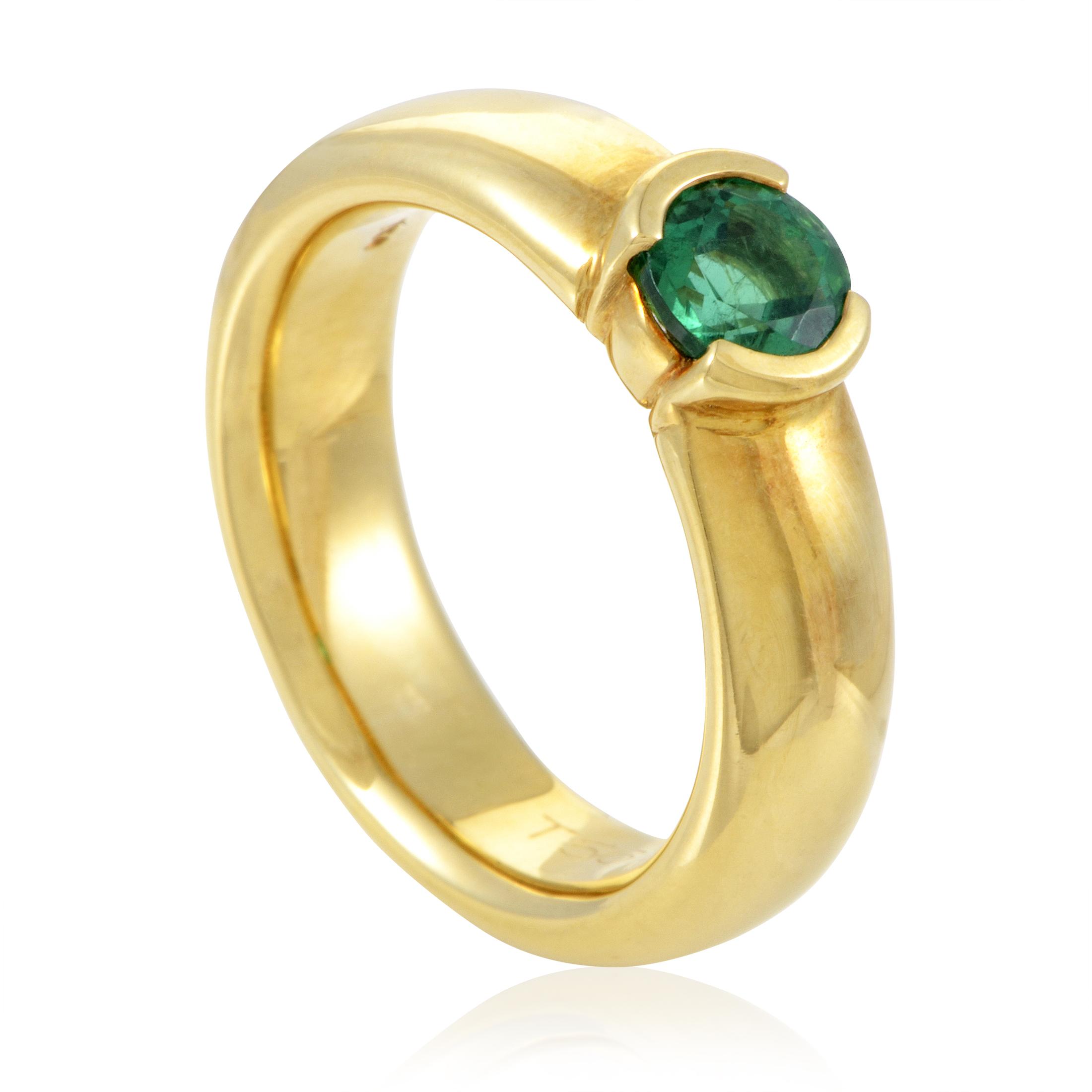 Tiffany & Co. Etoile Women's 18K Yellow Gold Emerald Ring