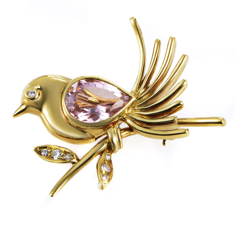Tiffany & Co. Women's 18K Yellow Gold Diamond & Kunzite Bird Brooch