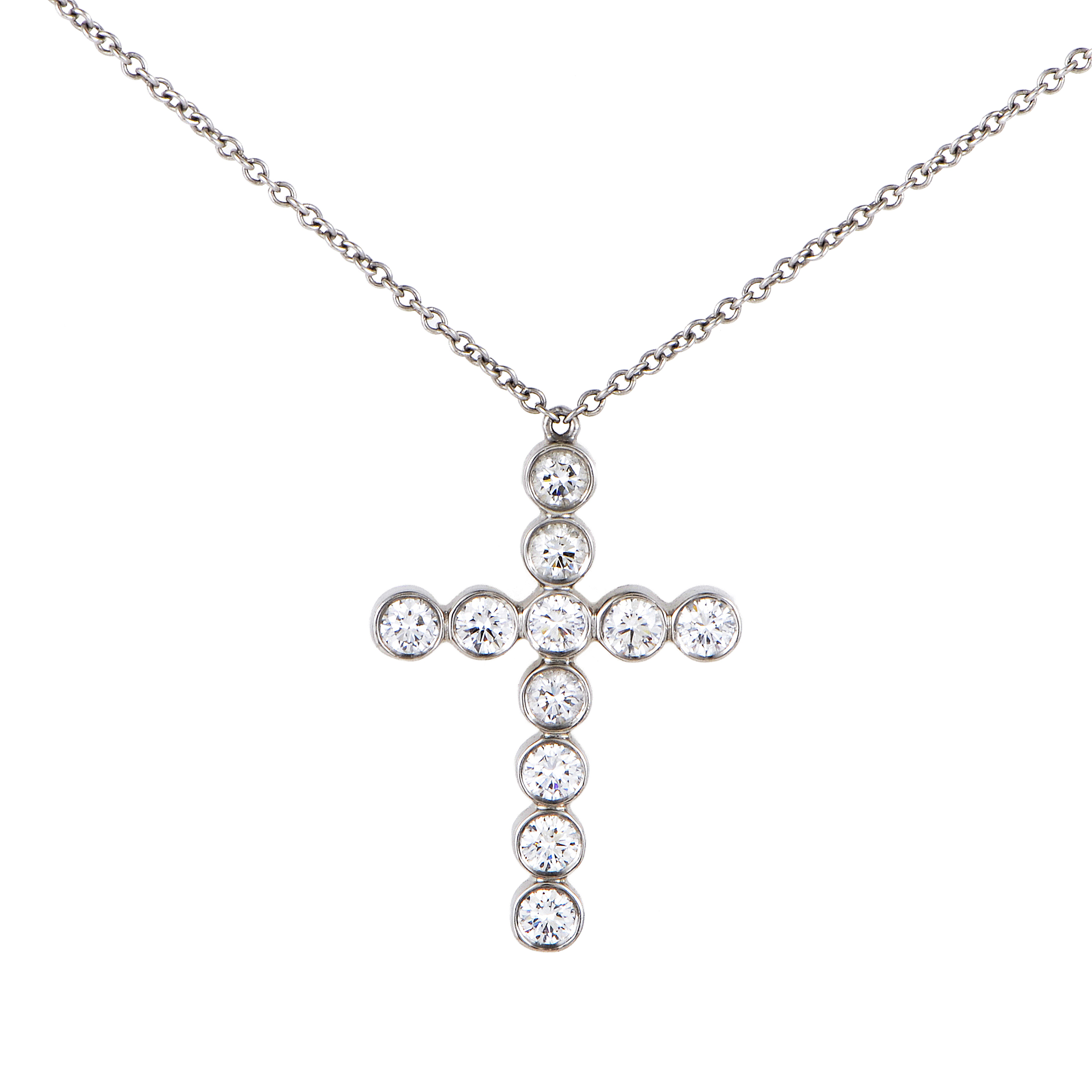 Tiffany & Co. Jazz Women's Platinum & Diamond Cross Pendant Necklace