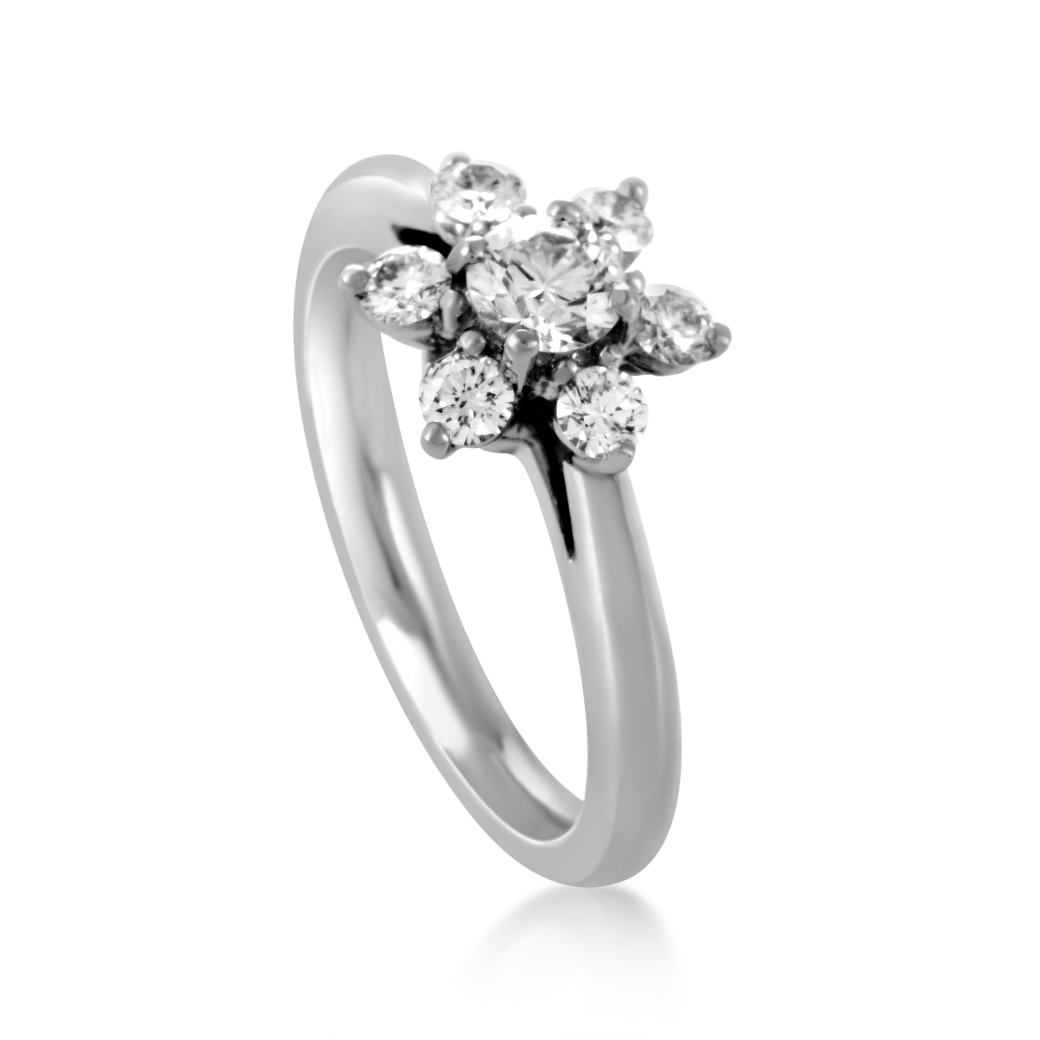 Tiffany & Co. Womens Platinum Diamond Flower Ring