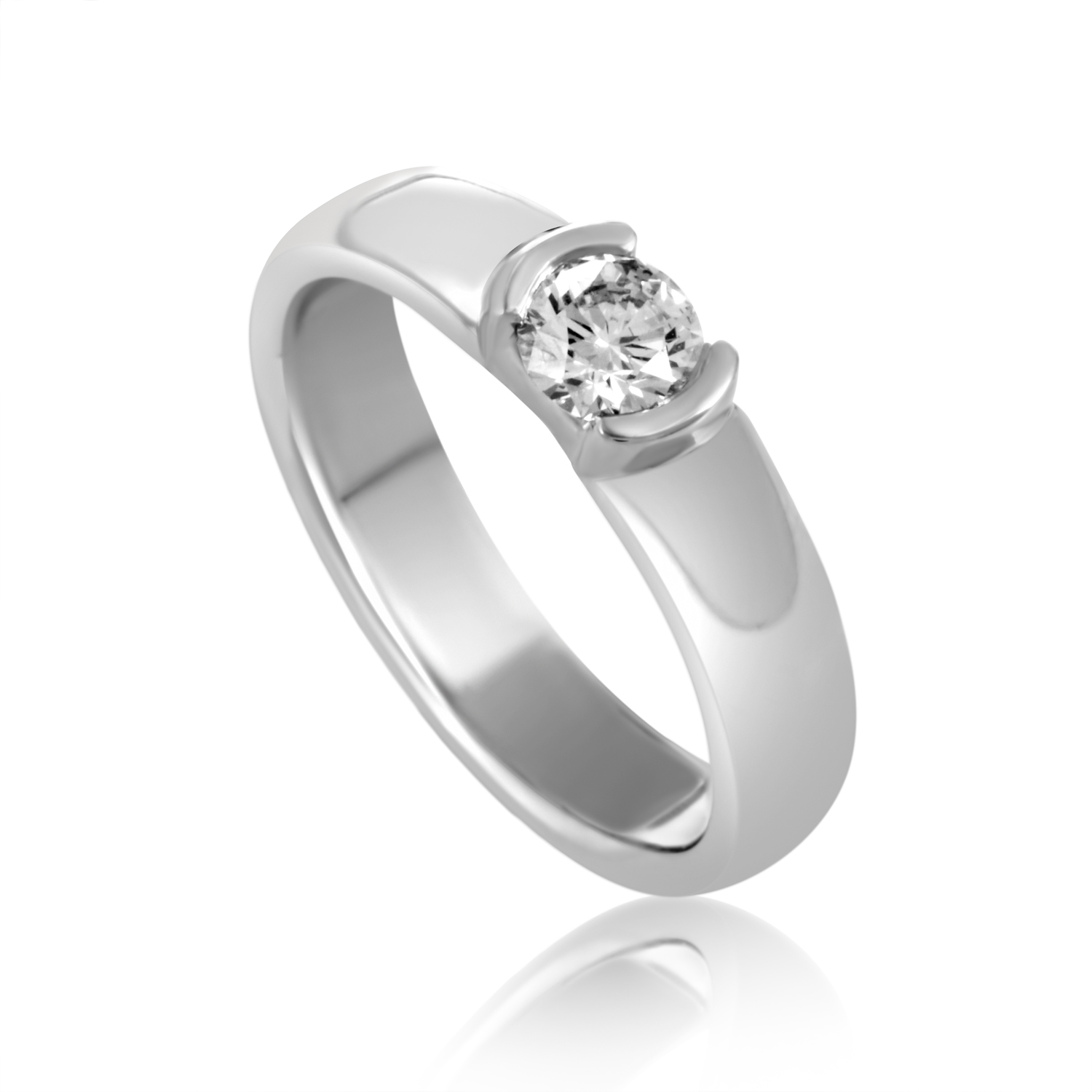 Solitaire Tiffany Bands: Tiffany & Co. Etoile Platinum Diamond Solitaire Engagement