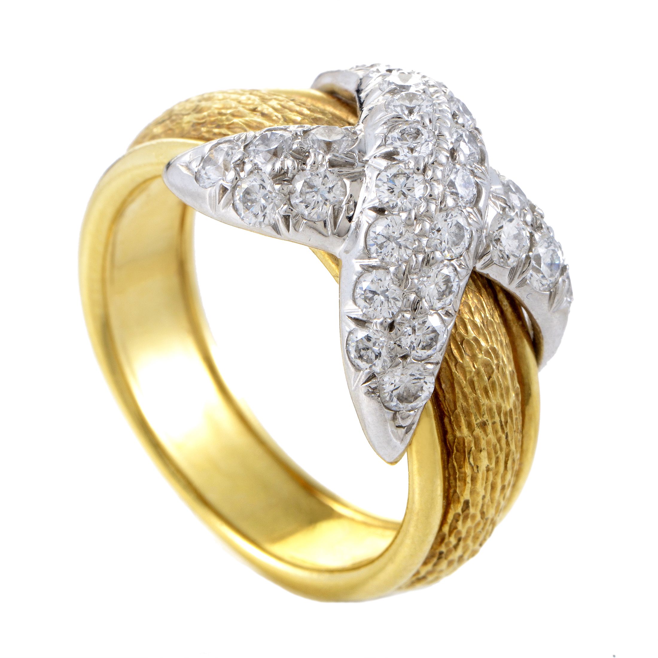 Yellow Gold Diamond Platinum: Tiffany & Co. Schlumberger 18K Yellow Gold & Platinum