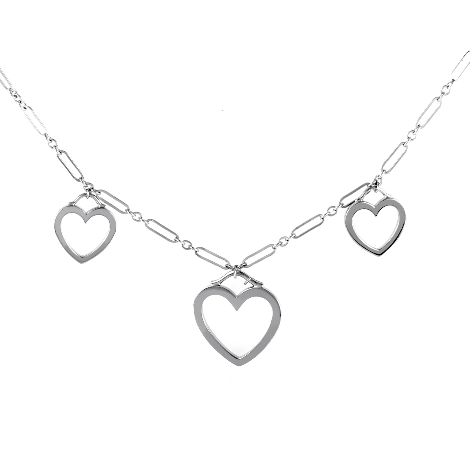 Tiffany & Co. Women's 18K White Gold Triple Sentimental Heart Necklace