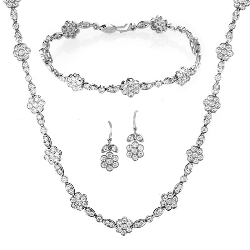 Women's Platinum & Diamond Floral Jewelry Set