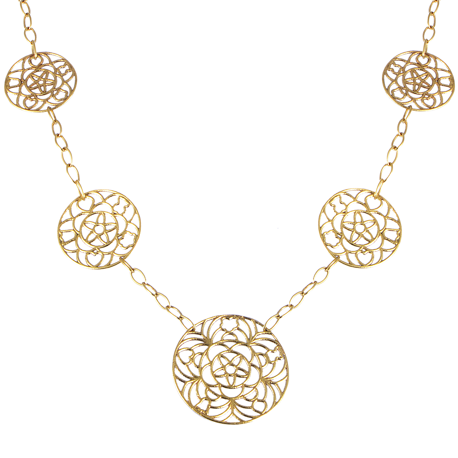 Tous Women's 18K Yellow Gold 5 Lace Disk Necklace MD0104587AB