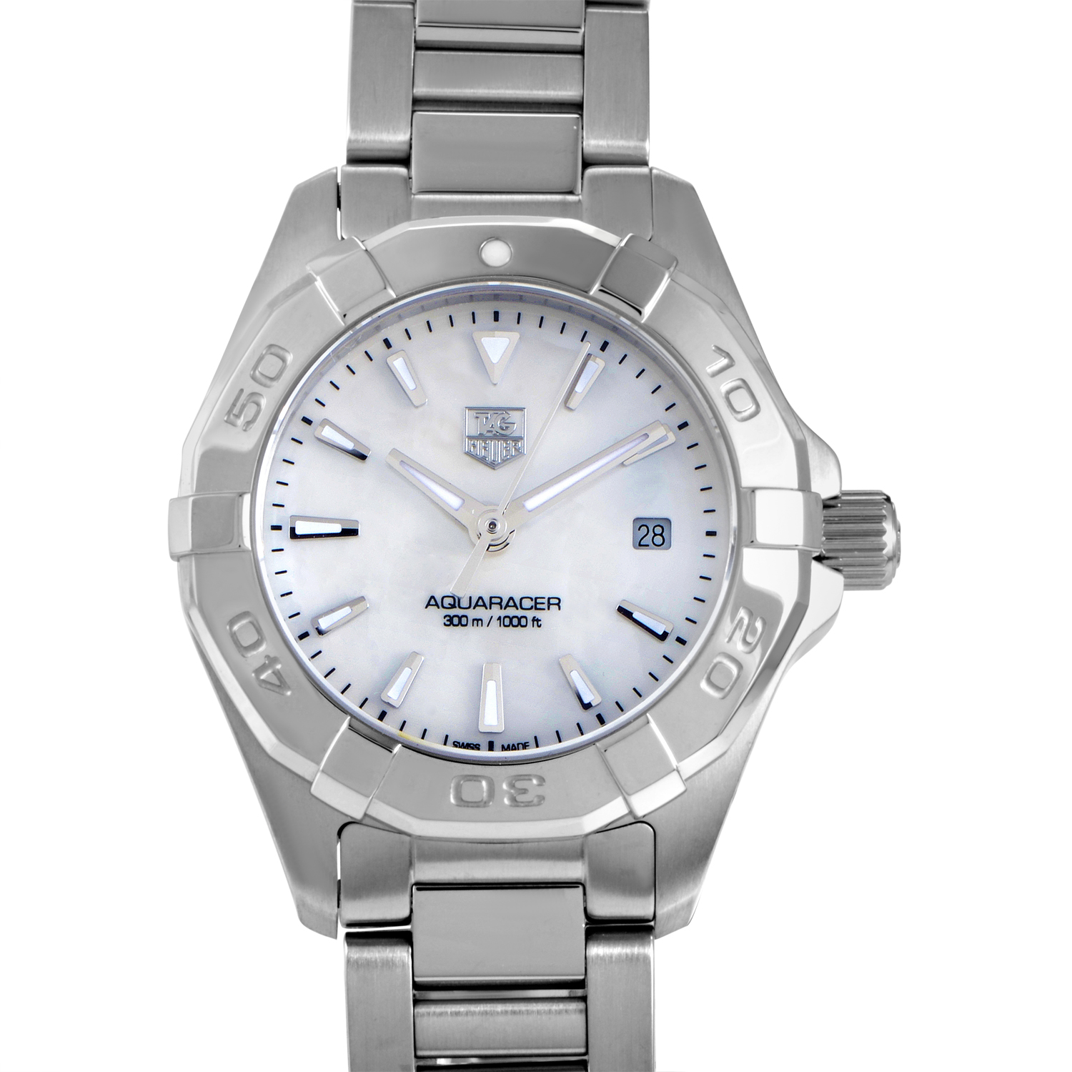 Tag heuer aquaracer ladies 300m stainless steel quartz watch way1412 ba0920 ebay for Tag heuer women